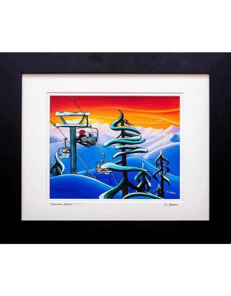 "Yvonne Acheson Art ""Snowman Antics"" Medium Framed"