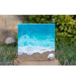 West Coast Resin Art Ocean Wall Art w/shells
