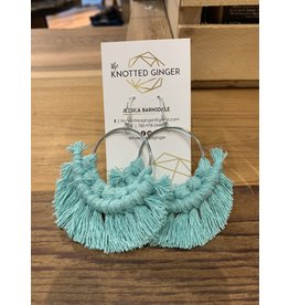 The Knotted Ginger Macrame Earrings Large Silver Hoop- Teal