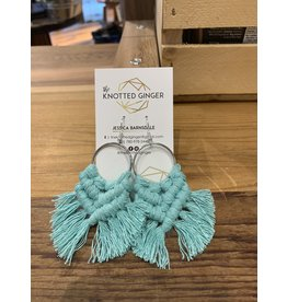 The Knotted Ginger Macrame Earrings Medium Silver Hoop- Teal