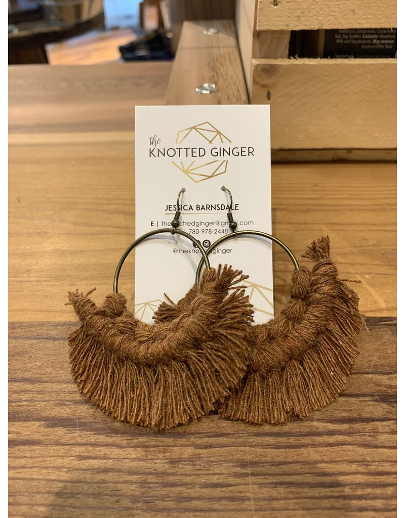 The Knotted Ginger Macrame Earrings Large Bronze Hoop- Spice