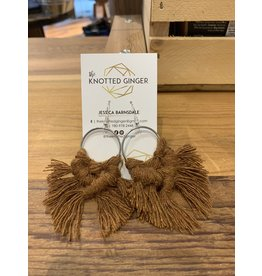 The Knotted Ginger Macrame Earrings Medium Silver Hoop- Spice
