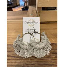 The Knotted Ginger Macrame Earrings Large Bronze Hoop- Grey Mist