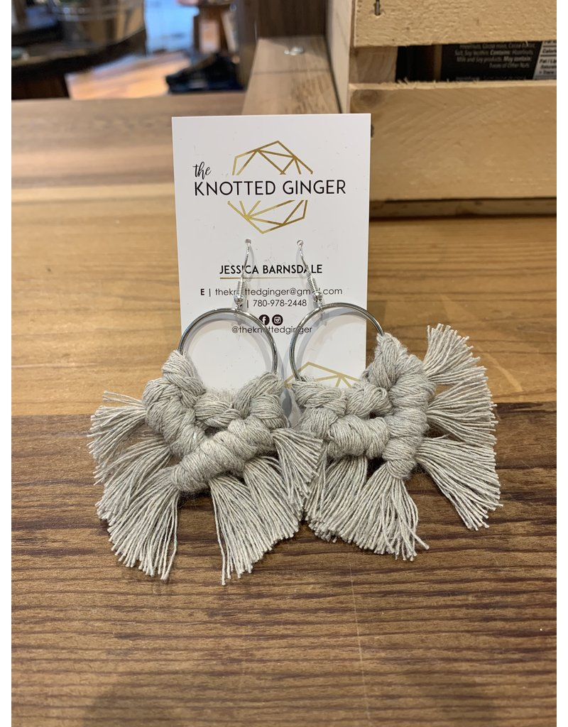 The Knotted Ginger Macrame Earrings Medium Silver Hoop- Grey Mist