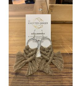 The Knotted Ginger Macrame Earrings Small Silver Hoop- Cappucino