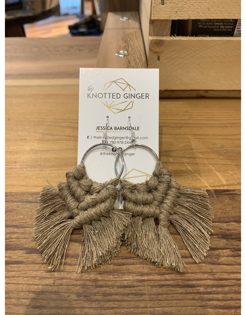The Knotted Ginger Macrame Earrings Medium Silver Hoop- Cappucino