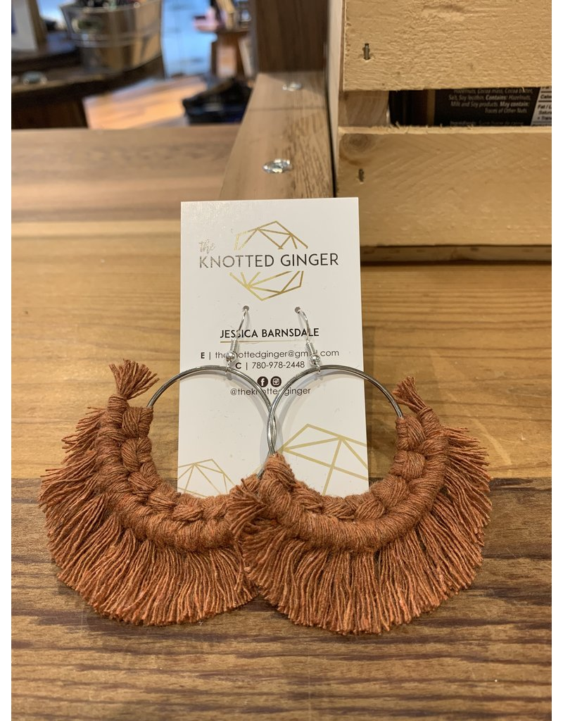 The Knotted Ginger Macrame Earrings Large Silver Hoop- Rust
