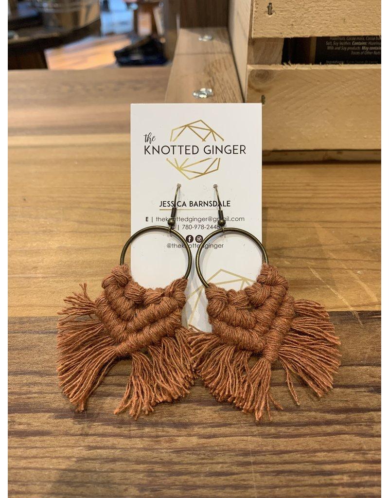 The Knotted Ginger Macrame Earrings Medium Bronze Hoop - Rust
