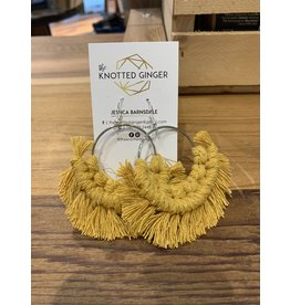 The Knotted Ginger Macrame Earrings Large Silver Hoop - Mustard