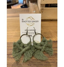 The Knotted Ginger Macrame Earrings Bronze Medium Hoop- Olive