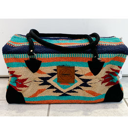 Lace Brick Designs Teal Brown Overnighter Bag