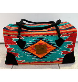 Lace Brick Designs Teal Red Navy Overnighter Bag