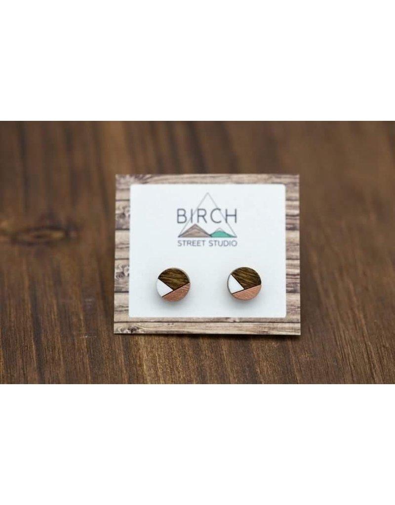 Birch Street Studio Round Rose Gold & White Dark Wood Studs
