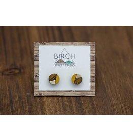 Birch Street Studio Round Silver Mustard Studs