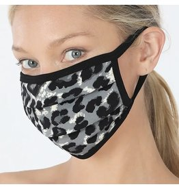 Cultured Coast Grey Leopard Print Mask