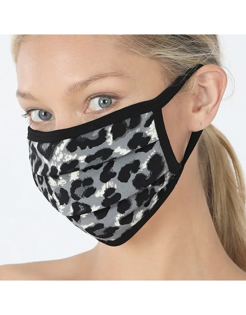 Cultured Coast Grey Leopard Print Mask