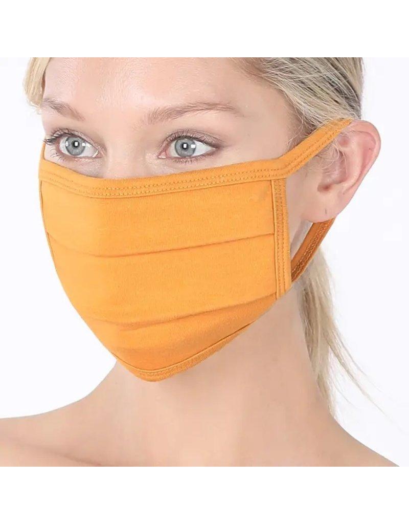 Cultured Coast Ash Mustard Pleated Mask