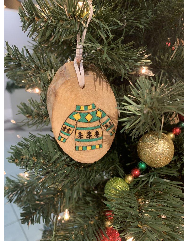 Honeybeezigns Green Sweater Ornament