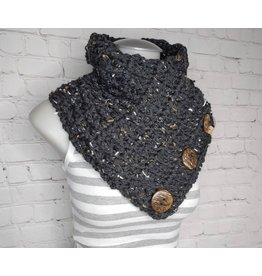 Tillys Cozy Hooks Button Cowl - Black Tweed