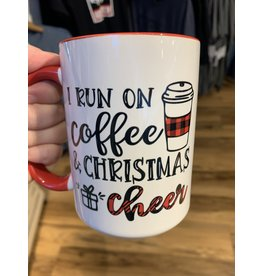 Cultured Coast I run on coffee and Christmas Cheer 15oz Mug