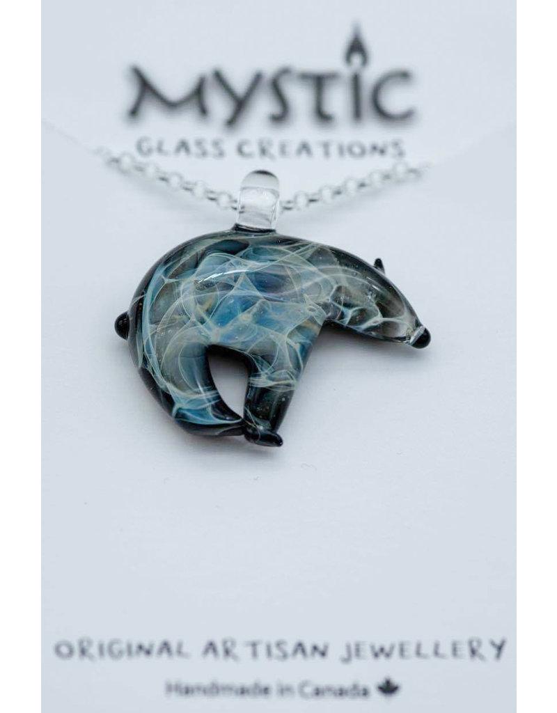 Mystic Glass Creations Polar Bear Silvechain Necklace