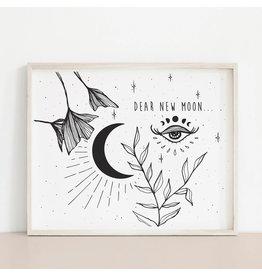 2humans1pooche Dear New Moon Print