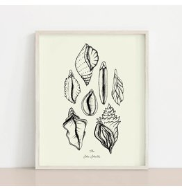 2humans1pooche She Shells Ivory Print