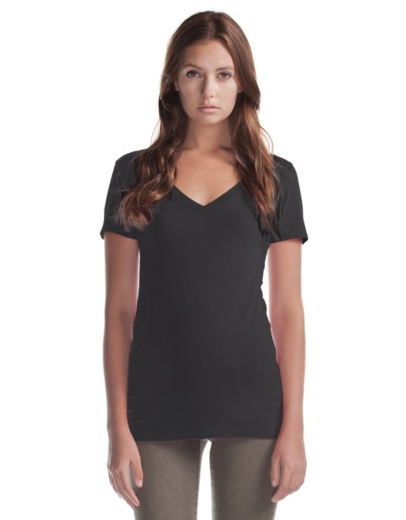 Cultured Coast Relaxed Fit V-Neck Bamboo Tee- Black