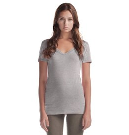 Cultured Coast Relaxed Fit V-Neck Bamboo Tee- Grey
