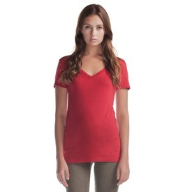 Cultured Coast Relaxed Fit V-Neck Bamboo Tee- Red