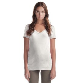 Cultured Coast Relaxed Fit V-Neck Bamboo Tee-White