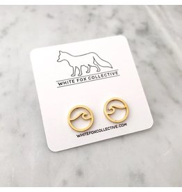 White Fox Collective Wave Earrings- Gold