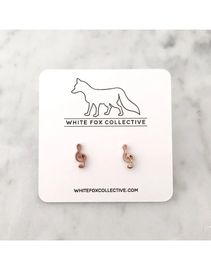 White Fox Collective Music Note Earrings- Rose Gold