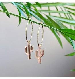 White Fox Collective Cactus Hoop Earrings- Gold