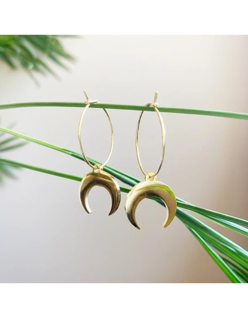 White Fox Collective Crescent Moon Hoop Earrings- Gold
