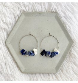 White Fox Collective Stone Hoop Earrings - Blue Sodalite