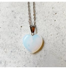 White Fox Collective Stone Heart Necklace - Opalite