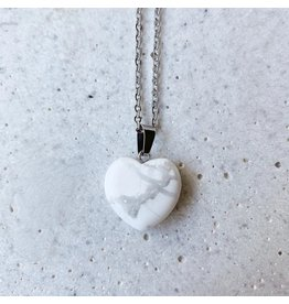 White Fox Collective Stone Heart Necklace- Howlite