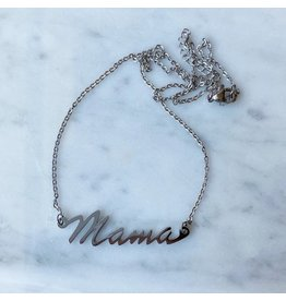 White Fox Collective Mama Necklace- Silver