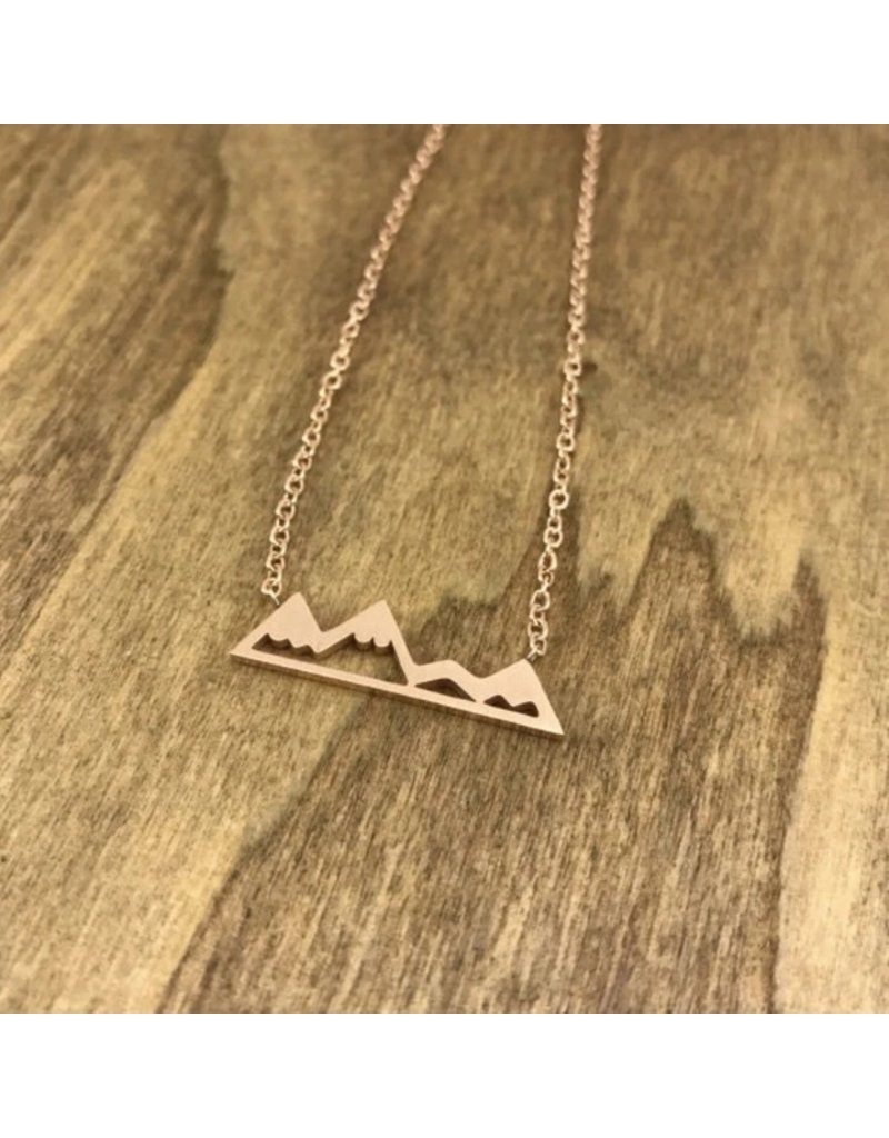 White Fox Collective Mountain Necklace- Rose Gold