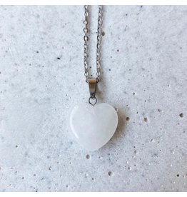 White Fox Collective Stone Heart Necklace - Quartz