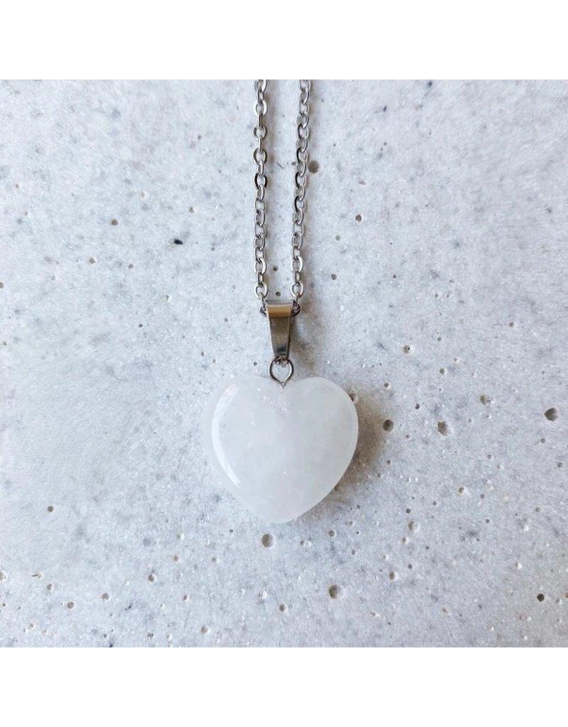 White Fox Collective Stone Heart Necklace - Quartz