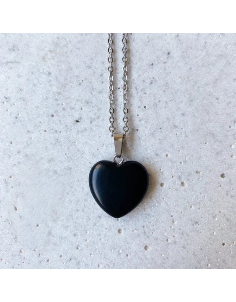 White Fox Collective Stone Heart Necklace - Obsidian