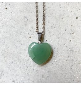 White Fox Collective Stone Heart Necklace - Aventurine