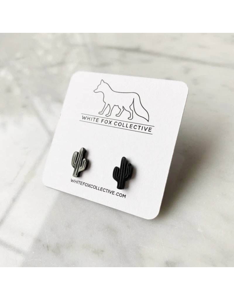 White Fox Collective Cactus Earrings- Black