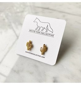 White Fox Collective Cactus Earrings- Gold