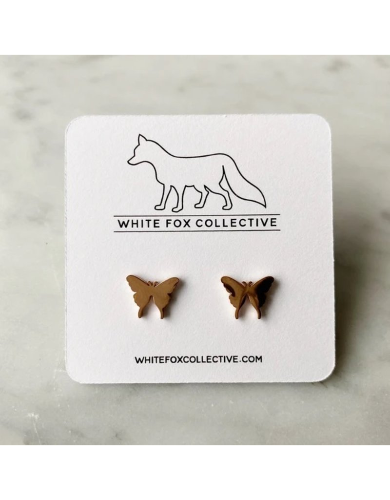 White Fox Collective Butterfly Earrings- Rose Gold