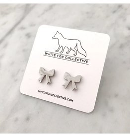 White Fox Collective Bow Earrings- Silver