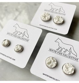 White Fox Collective Faux Druzy Earrings - White