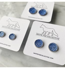White Fox Collective Faux Druzy Earrings - Sky Blue